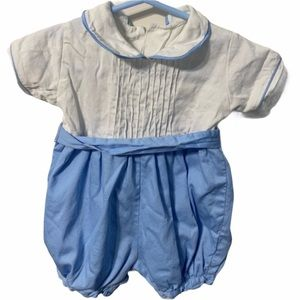 One Piece Outfit Blue White Baby 24 months